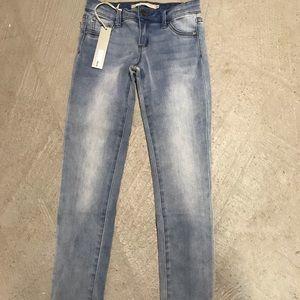 Tractr Cuffed Bottom Washed Denim Skinny Jean